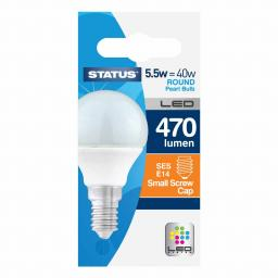 5.5 Watt 470 Lumen LED SES Globe Warm White