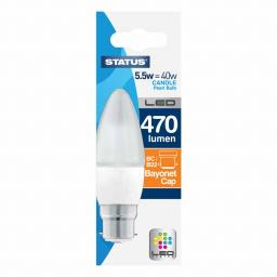 5.5 Watt 470 Lumen LED Bayonet Candle Warm White
