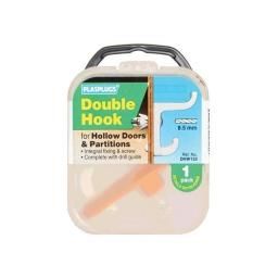 Hollow Door Hook Double White DHW133