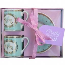 Bombay Duck Bird Espresso Cups, Mint, Set Of 2
