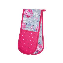 Kc Double Oven Glove Grey Floral