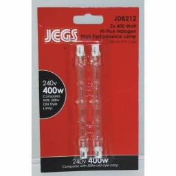 JEGS Hiflux Halogen Lamp Bulb Tube CD2 400W 118mm Blister pack of 2