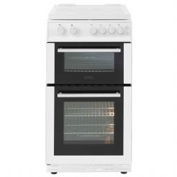 Belling FS50GTCL 50cm Gas Twin Cavity Cooker with Gas Hob and Glass Lid - White - A Rated