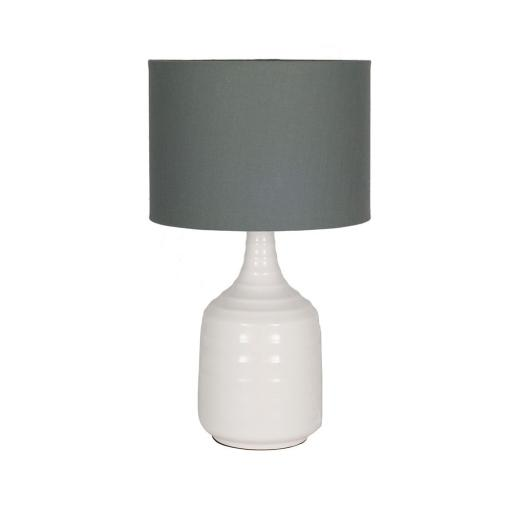 White Ribbed Ceramic Lamp/Grey Shade