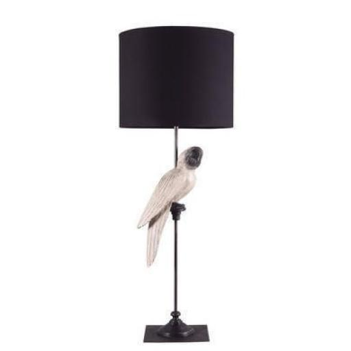 Table Lamp White Parrot Black Shade