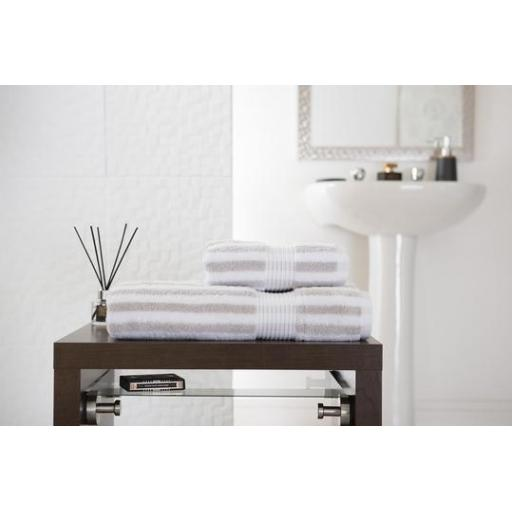 Bliss Stripe Silver Bath Towel