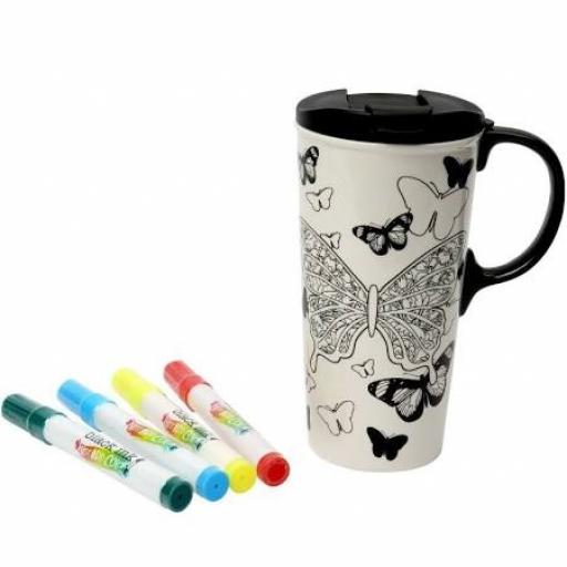 Just Add Colour Travel Mug Butterfly