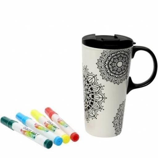Just Add Colour Travel Mug Mandala