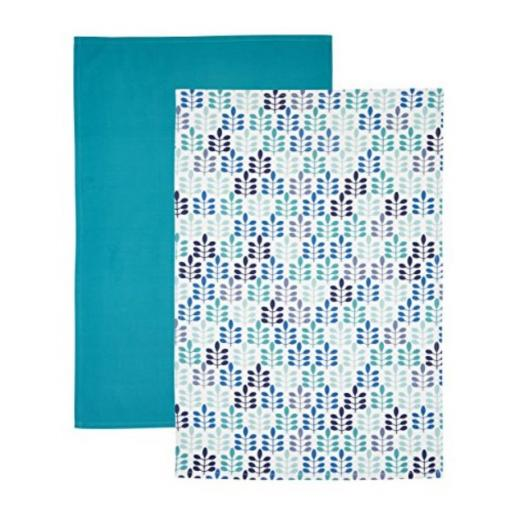 Tea Towel Set Blue Leaf