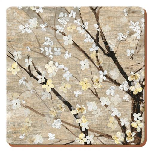Creative Tops Set of 4 White Blossom Square Coasters