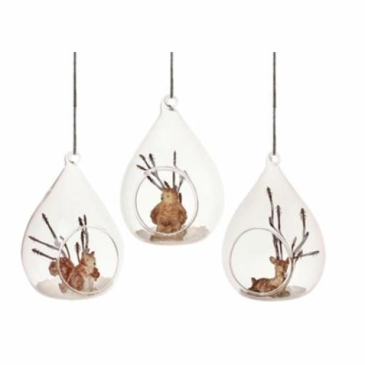 Glass Hanging Ornament Deer Squirell Owl