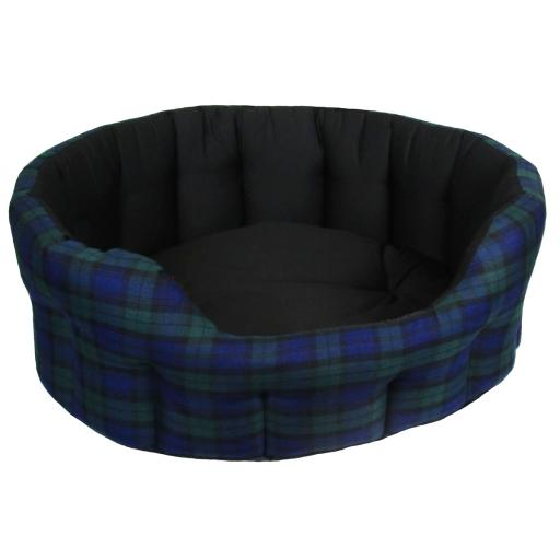 Dog Bed Oval Drop Fronted Black Tartan
