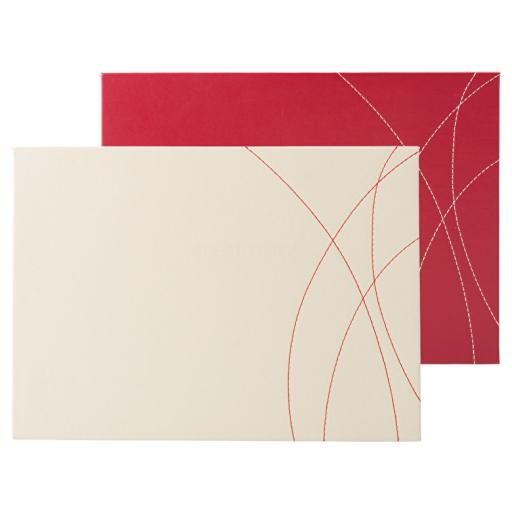 Creative Tops Pack Of 4 Stitched Faux Leather Placemats Red And Cream