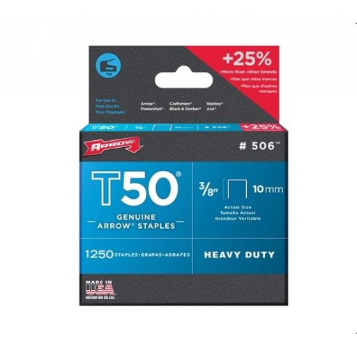 Arrow T-50 Staples (Pack Of 1250) 3/8In
