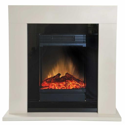 Dimplex Ventosa Ready Assembled Electric Fireplace Suite, 1.5 kW, 230 W, Stone/Black