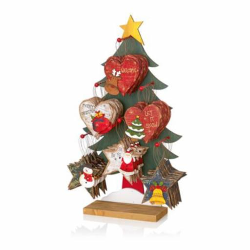 Christmas Wooden Decoration Assorted Heart & Star