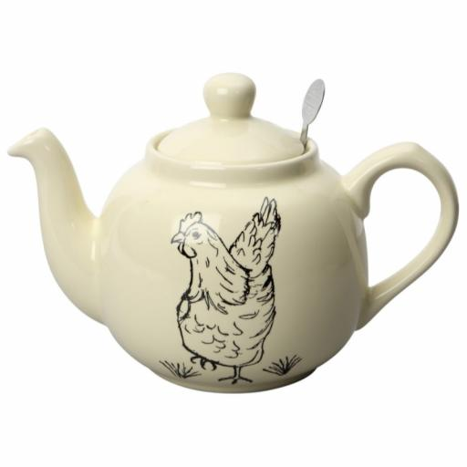 Teapot Farmhouse Hen Cream Filter