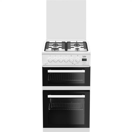 Beko Edg506W 50Cm Twin Cavity Gas Cooker
