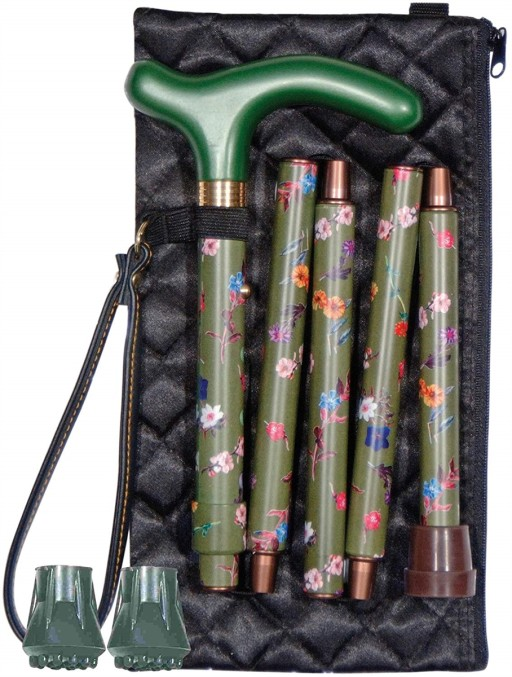 Cane Folding Green Floral
