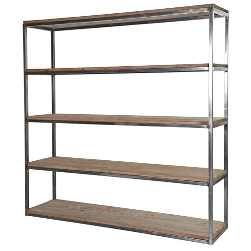 Pine With Metal Shelves