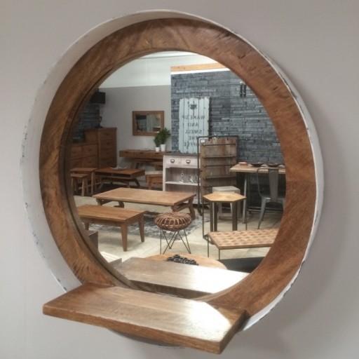 Mirror Round Porthole With Shelf