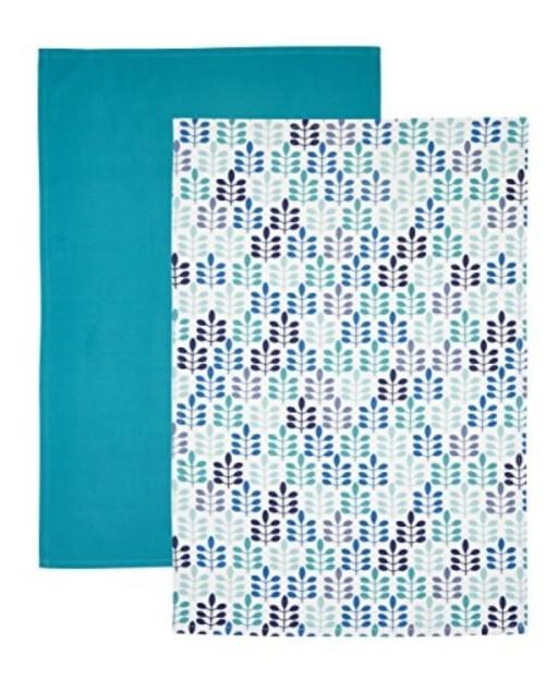 Tea Towel Set Blue Leaf