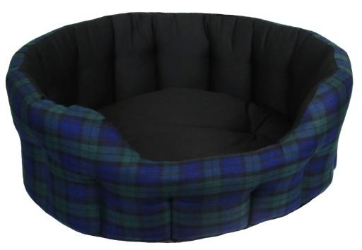 Dog Bed Oval Drop Fronted Black Tartan