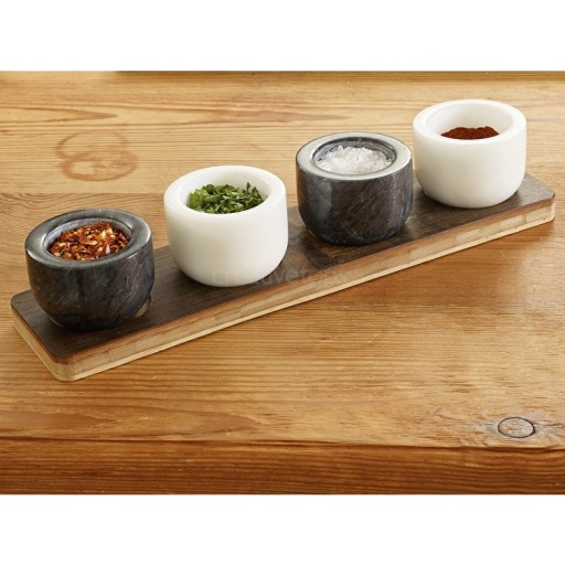 Sabatier Maison Bamboo Stand With 4 Marble Salt Pig Pots