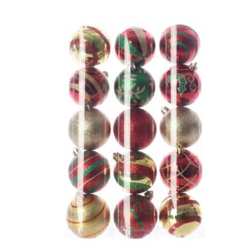 Christmas Baubles Red Gold Green