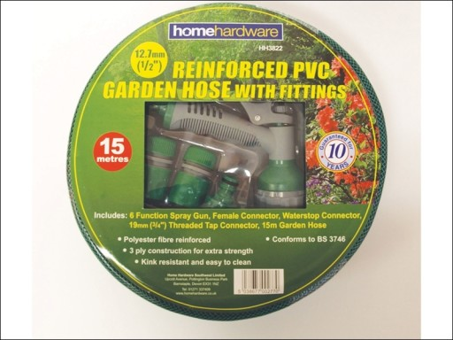 Homgard Reinforced Grn Hose 15M+Fittings/Spray P