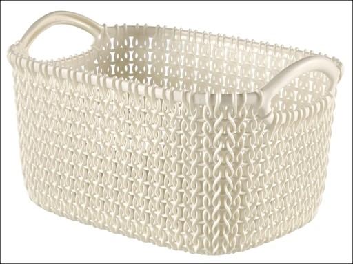 Knitted Basket Rectangular Oasis White 3L 229296