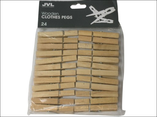 Jvl Wooden Clothes Line Pegs X 24 19-240