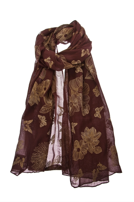 Scarf Texture Butterfly Dark Chocolate
