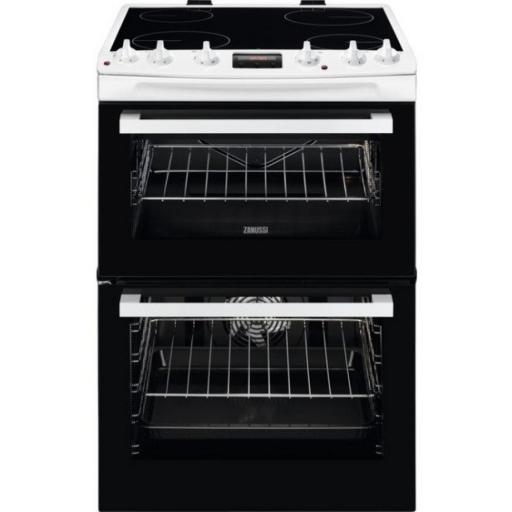 Zanussi ZCV66078WA 60cm Electric Double Oven with Ceramic Hob - Stainless Steel - A/A Rated