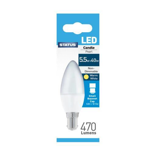 Status 5.5 Watt SBC LED Candle Bulb