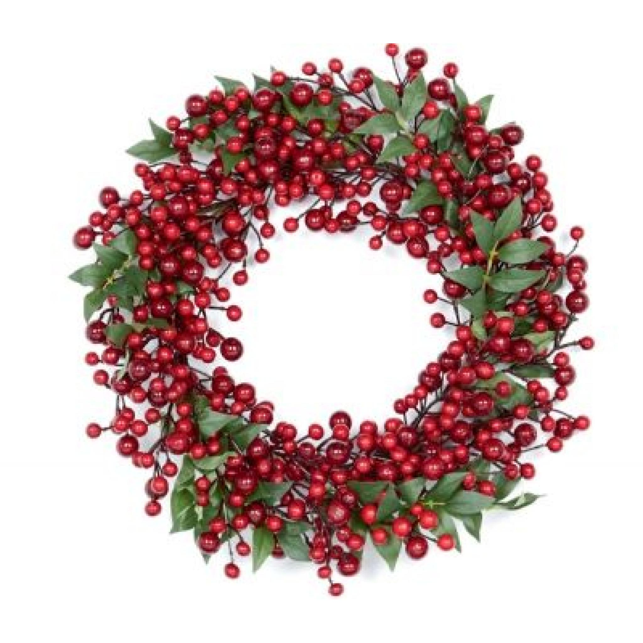Red Berry Leaf Wreath Staines And Brights