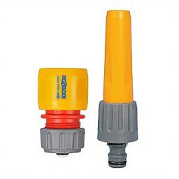 Hozelock A hose nozzel that can be adjusted from a strong jet to a fine mist of water to accomodate whatever job you are doing in the garden. Included is a waterstop junction so you can control your watering.Hose Nozzle/ Waterstop 2292/9008