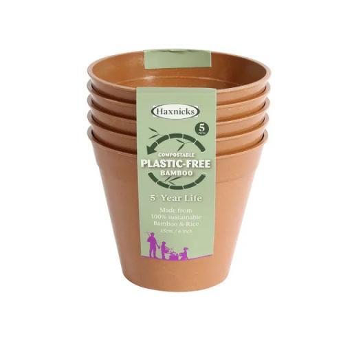 Haxnicks Bamboo Pot 6in Terracotta x5 plastic free