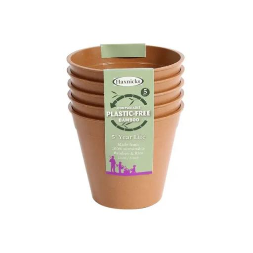 "Haxnicks 5"" BAMBOO POTS - TERRACOTTA (PACK OF 5) plastic free"