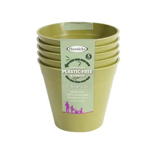Haxnicks Bamboo Pot 6in Sage Green x 5 plastic free