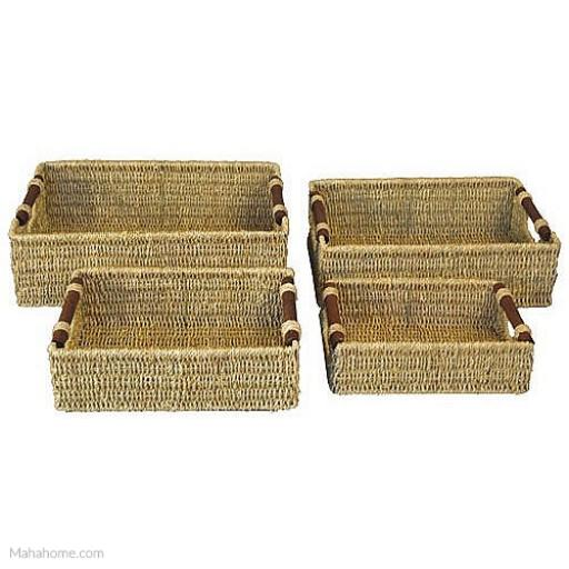 JVL Small Rectangular Seagrass Storage with Wooden Handle