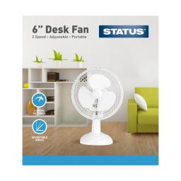 "6"" White Desk Fan - Oscillating - 2 Speed Settings - Status"