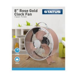 "8"" Rose Gold Clock Fan - 2 Speed Settings - Status"