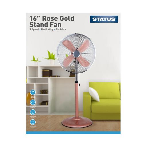 "16"" Rose Gold Stand Fan - Oscillating - 3 Speed Settings - Status"