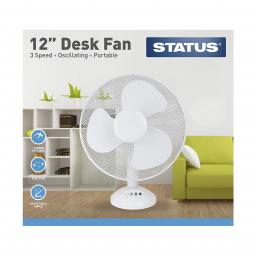 "12"" White Desk Fan - Oscillating - 3 Speed Settings - Status"