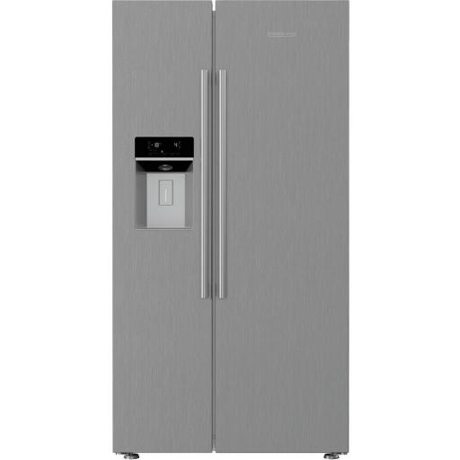 Blomberg KWD253PX Non Plumbed Water & Ice American Fridge Freezer - Brushed Steel