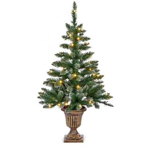 3FT FLOCKED PRE LIT MINI ARTIFICIAL TREE 90CM