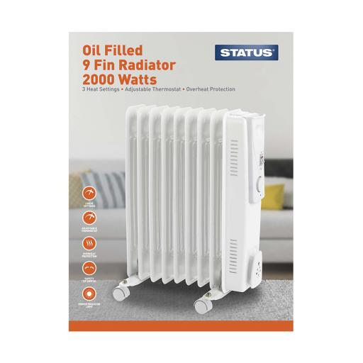 Status 2000W 9 Fin Oil Filled Radiator