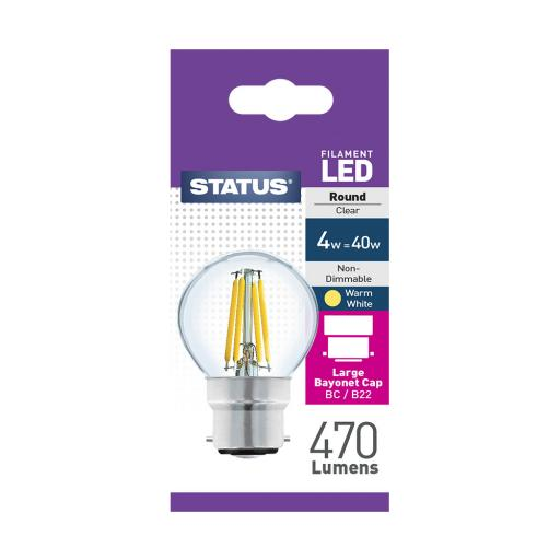 4w BC Round Clear Filament Warm White Bulb