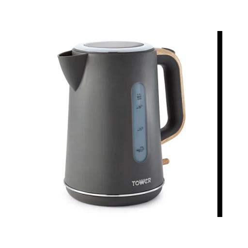 Scandi Kettle Grey & Wood 3kW 1.7L